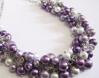Purple Pearl Necklace, Lilac and Plum Cluster Necklace, Bridesmaid Necklace, Wedding Bridesmaid Jewelry