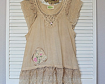 Sweet Lace Hand Dyed Vintage Look Women's Shirt / Shabby Mori Girl Clothing / Romantic Top / French Country Market Clothes