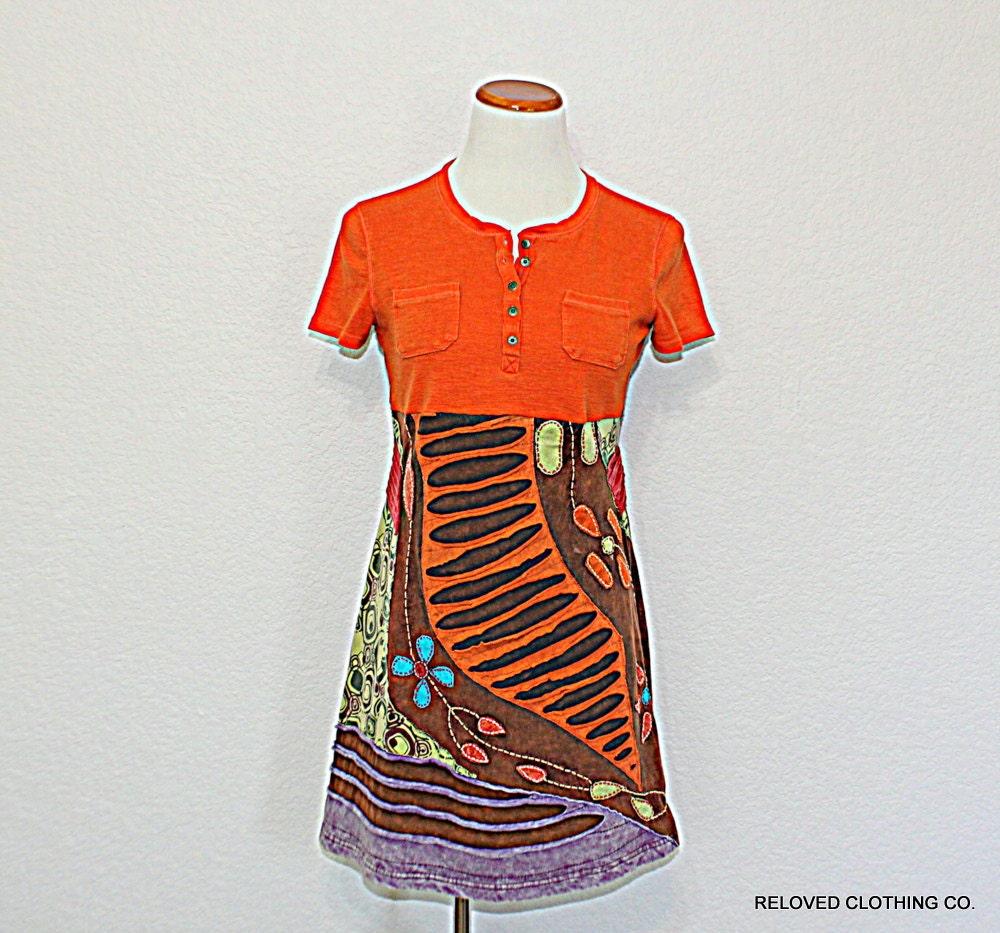 Boho Upcycled Women's Junior's Funky Dress