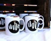 "CLEARANCE 11 oz  SET , ""mr"" & ""mrs"" ceramic mugs"