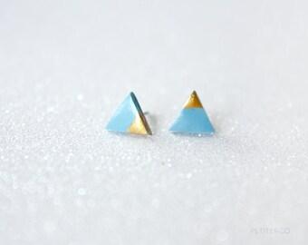 gold dipped triangle studs - slate blue / geometric dainty jewelry