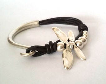 dragonfly Bracelet, leather bracelet,  wrap bracelet,  hook clasp, gift for her, nature bracelet, bracelet for women, silver.