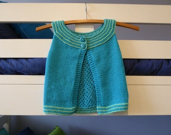 Blue & lime cotton short sleeved cardigan - fit girl approx 18 months - handknit