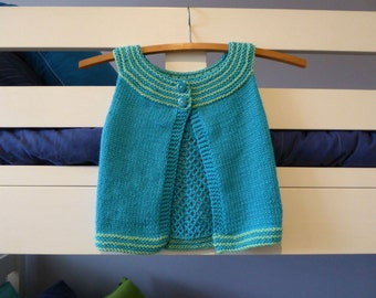 Sleeveless toddler sweater, girls summer or between seasons knit, pretty toddler vest 18 months, hand knit, childs aqua cotton sweater