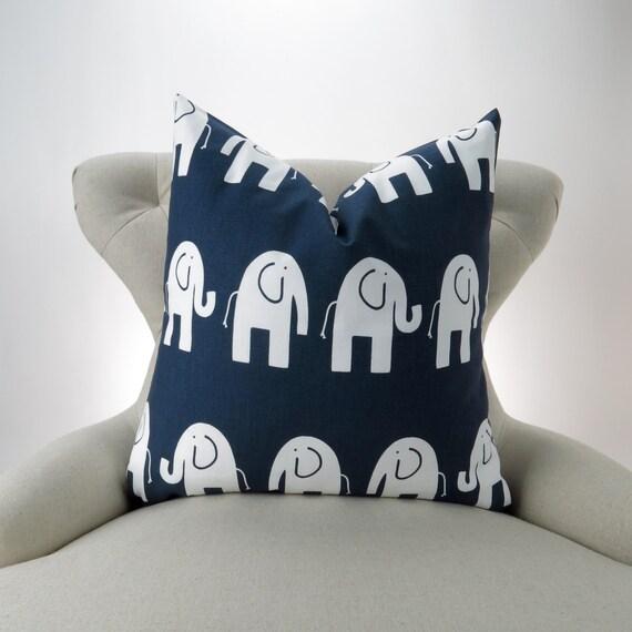 elephant pillow navy blue white nursery pillow euro sham. Black Bedroom Furniture Sets. Home Design Ideas