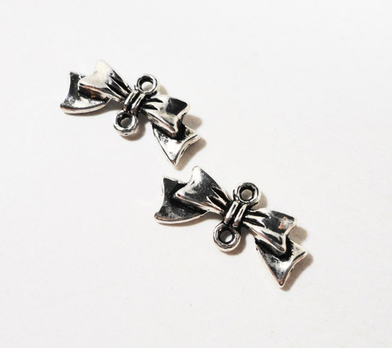 Silver Bow Connector Charms 20x9mm Antique Silver Bow Charms, Bow Connector Pendants, Hair Bow Charms, Earring Jewelry Findings, 10pcs