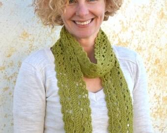 Green infinity scarf, crochet lace scarflette, extra long merino neckwarmer