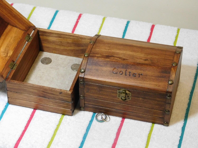 Wood Pirate Chest ~ Wooden treasure chest keepsake jewelry box pirate