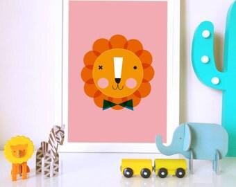 Nursery wall art, Nursery print, Kids art print, nursery poster, kids poster, Lion, kids decor