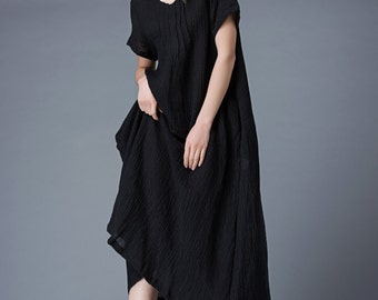 Maxi dress Black Long linen Dress women's dress Maxi Dress C847