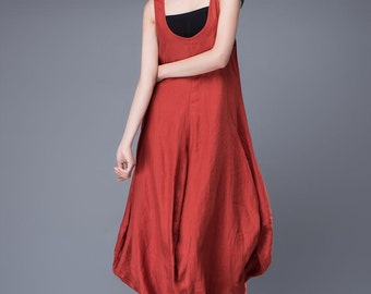 Red Linen Dress - Free-Style Casual Loose-Fitting Tulip-Shaped Everyday Modern Contemporary Unique Designer Dress C888