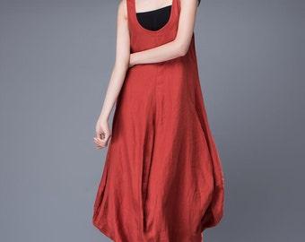 loose dress, long linen dress, asymmetric dress, sleeveless dress, red dress, womens dresses, day dress, casual dress, plus size dress, C888