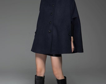 Cape coat, navy cape, womens jackets with epaulettes, poncho coats, wool cape, navy blue cape, woman coat, winter warm coat, short coat C754