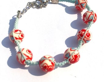 Red and Light Blue Ceramic Bead Shamballa Bracelet