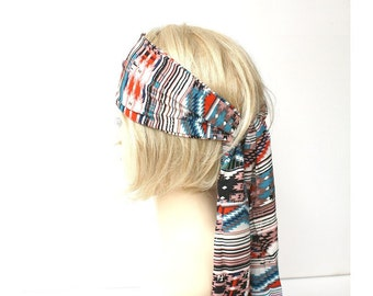 boho head scarf long ethnic headscarf hippie head wrap summer thin scarf headwrap hair band brown beach headband southwestern aztec