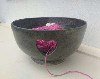 Ready to Ship - Pottery Yarn Bowl UK Knitting Bowl Handmade - Pebble black