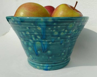 Handmade Pottery Bowl Green and Blue Home Decor Centre Piece Decorative Pottery Fruit Bowl Crystal Glazes Made in UK