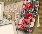 Personalized phone case, Monogram Iphone 6s case, Roses Iphone 6s Plus case, Ikat iPhone 6 case, Pink black coral (1587)