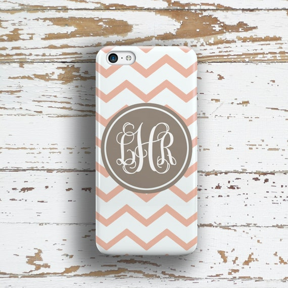 Personalized Iphone 6 case, Chevron iPhone 5c case, Pink iPhone 5s case, Cute iphone 4s case, Gift for co worker, Pink tan white (9705)