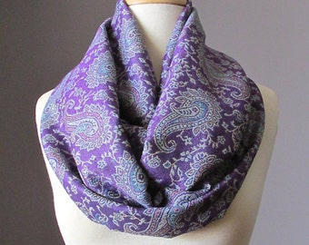 Pashmina   paisley Infinity Scarf in Purple , Blue , Jacquard, Gift for her, Christmas, Birthday, Mothers Day gift
