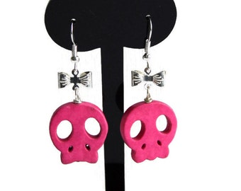 Hot Pink Skull Earrings, Cute Skulls, Candy Skulls, Quirky Drop Earrings