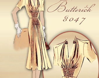 Butterick 8047 1930s Dress Pattern One Piece Day Dress with Unique Midriff Detail Uncut  Factory Folded