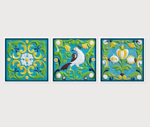 kitchen decor wall art set of 3 prints tile art prints. Black Bedroom Furniture Sets. Home Design Ideas