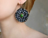 Black ethnic cord earrings Large Circle earrings Ethnic earrings Big earrings Fabric dangle earrings with Green beads, Textile art jewelry