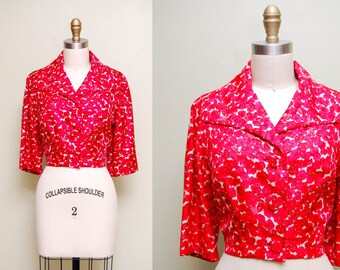 Vintage 60s Silk Floral Cropped Jacket / 1960s Red Floral Tailored Blazer / Size MEDIUM