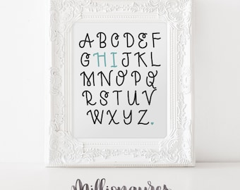 Hi! Alphabet Printable Quote, She believed She could so she did MillionAyres Nursery Print