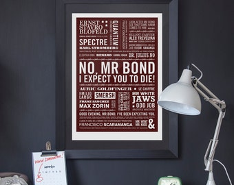 Villains - James Bond Baddies Print in Evilly Dark Red. Available in A2 or A3.