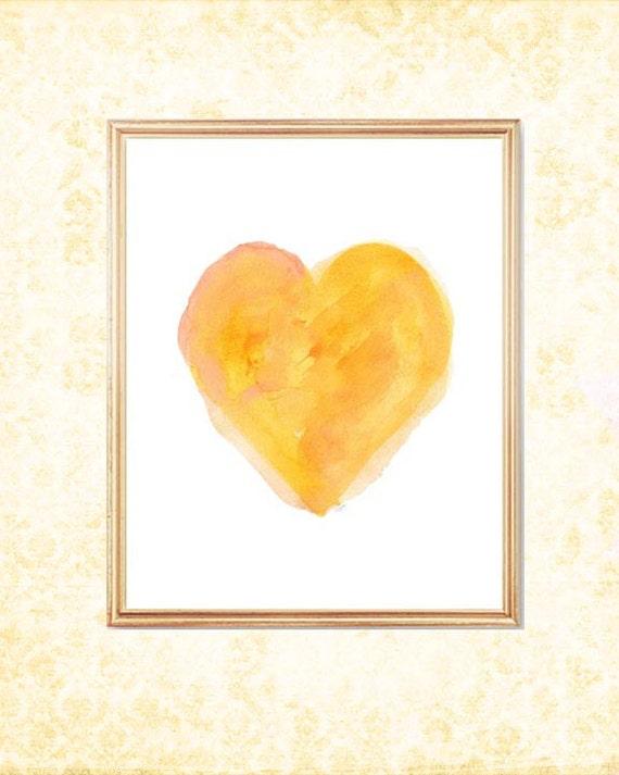Yellow Painterly Heart Print, 8x10 Watercolor