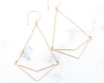 Kaihe Earring - Long Dangle Earring, Geometric Jewelry, Gold Arrow Earring, Drop Earring, Bohemian Earring, Gold Triangle Earring, V Earring