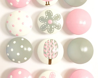 Hand Painted Pink and Grey Drawer Knobs for your Dresser Drawers