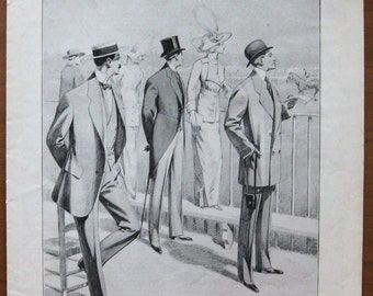 Paquin Bertholle, 1912, vintage,  ad, original, tailor, fashion, men, women, clothes, French, advertisement, free shipping, paper, ephemera