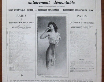 ND, corset, 1912, vintage, ad, original, washable corset, fashion, women, French, advertisement, free shipping, paper, ephemera