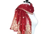 Red Embroidered Shawl, Beaded Crimson Holiday Tulle Net Scarf, Sequin Wrap, Sheer Veil, Indian Wedding Bollywood, Bohemian