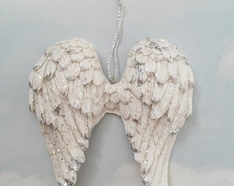 Angel wings, angel wing decor, small angel wings, angel wings ornament, white wings, white angel wings, French Nordic, wing door hanger, ST