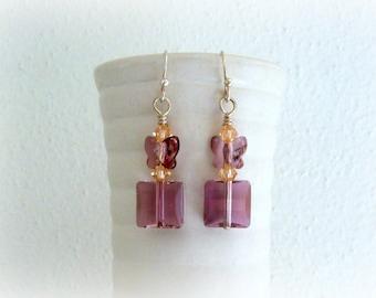 Swarovski Crystal Earrings - Amethyst Square earrings with Butterfly - handmade earrings in silver