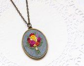 Hand Embroidered Colorful Flower Bouquet Necklace   Embroidered Long Pendant Statement Necklace    Gray Hot Pink Yellow Red Coral Green