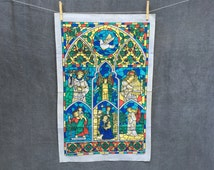 Vintage Stained Glass Church Religious Saints Tea Towel by Lamont - Made in the UK - NOS