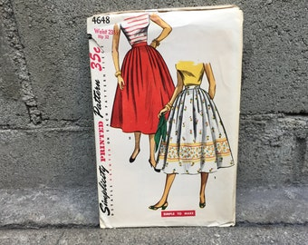 50's Simplicity 4648 Pattern Simple to Make Misses' Skirt // Waist 23 1/2, Hip 32
