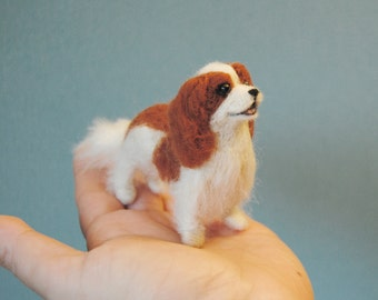 Cavalier King Charles Spaniel, Little Dollhouse Puppy, Needle Felted Spaniel, Felt Dog- made to order