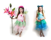 Pink, Blue or Purple petal fairy flower dress with wings- 3 colours - 4 sizes - fairylove