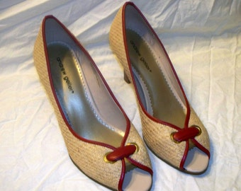 1960s Style Pumps - Andrew Geller - Raffia - Size 9.5M - Red Leather Trim = Open Toe