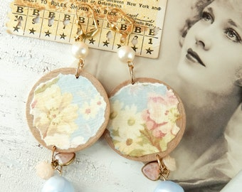 Upcycled flower earrings / mixed media / upcycled earrings / repurposed earrings / cottage chic / shabby earrings / shabby chic / altered