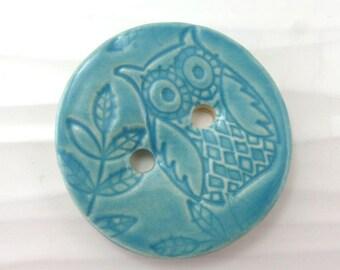 """4.5 cm owl button - ceramic button - blue button - 1 3/4"""" - 45 mm"""