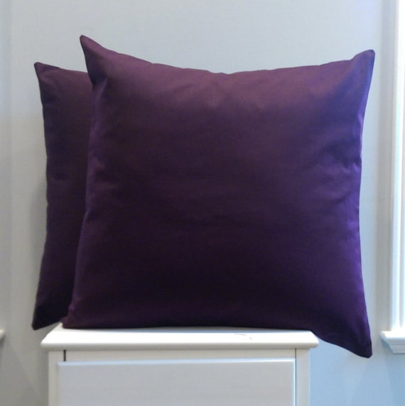 SET OF TWO - Solid Purple Pillow Covers - 20x20 Throw Pillows - Plum - Eggplant - 18x18 purple pillow covers - free shipping