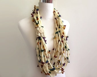 cream flower hand crochet chain Infinity scarf - gift or for you