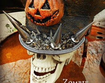 """Jack-o-Lantern """"All Hallows"""" Extreme Spiked Hat"""
